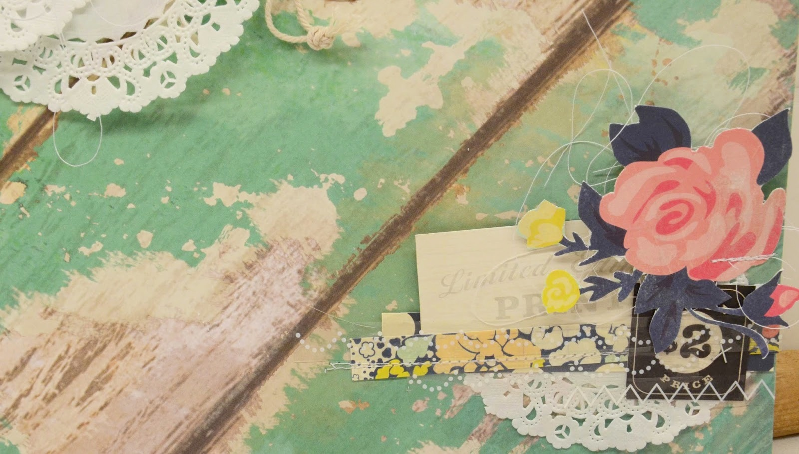 SRM Stickers Blog - Lovely Layout by Laurel  - #layout #doilies #stickers #muslin #bag #twine