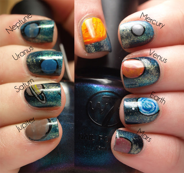 Nail art 2 galaxy planets moon and stars bow of moon for Outer space nail design