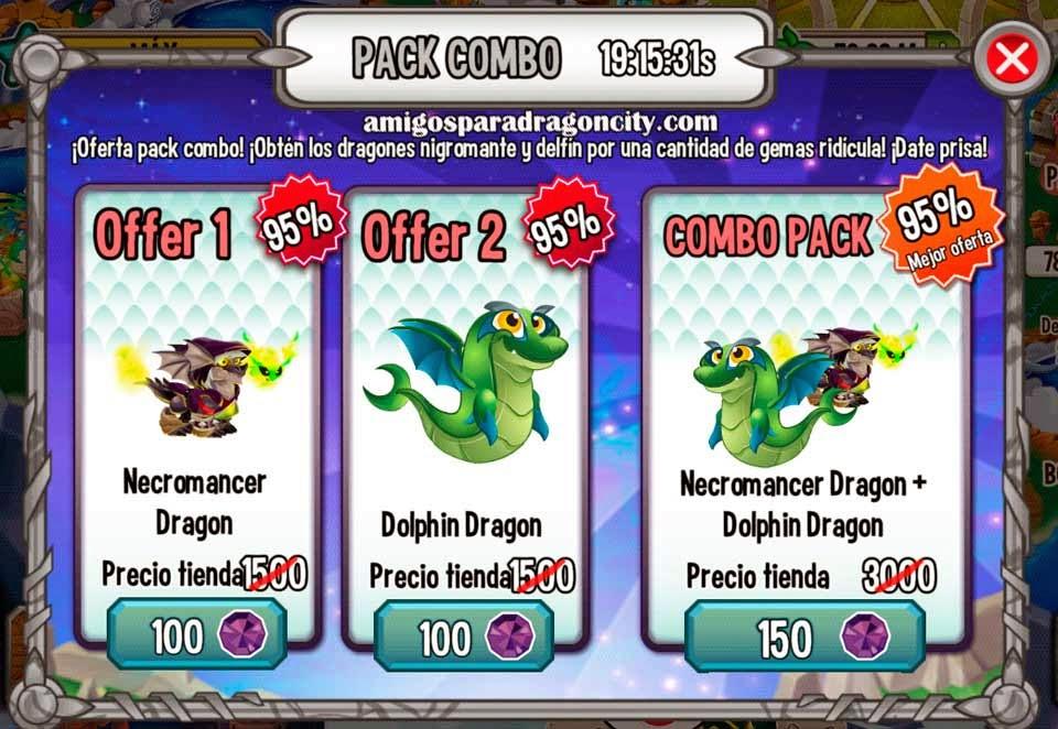 imagen de la oferta del dragon delfin y dragon nigromante de dragon city mobile