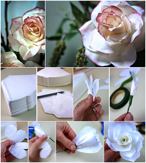 DIY Coffee Filter Rose