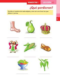 Apoyo Primaria Español 1er grado lección 12 ¿Qué perdieron?