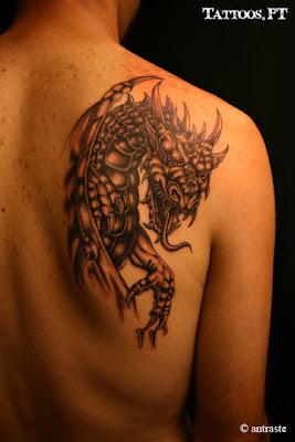Tatuagens Dragao preto e branco