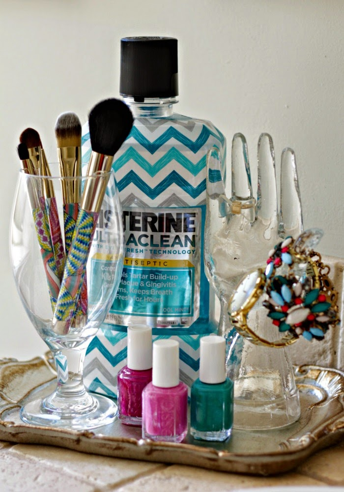 bathroom vignette with listerine's chevron bottle