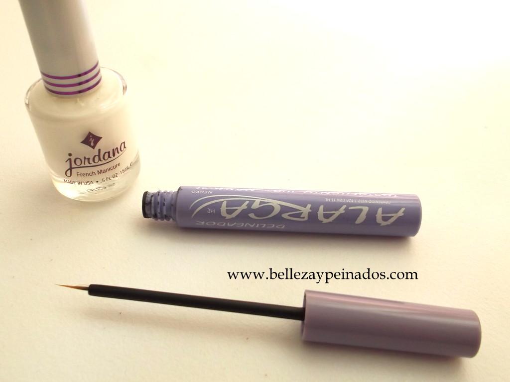 ahora limpiare muy bien el pincel del mi delineador ya que ire a decorar mis uas usando esmalte blanco o en todo caso pintura acrlica blanca