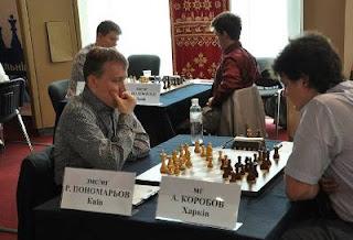 Echecs à Kiev : Ruslan Ponomariov (2754) 1-0 Anton Korobov (2660) ronde 1