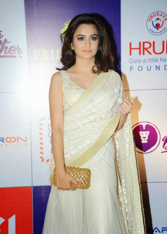 Kriti Kharbanda Hot Low Waist White Saree Photo