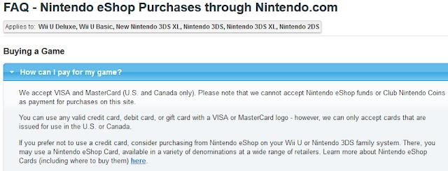 Nintendo eShop purchases FAQ Nintendo.com credit card can I use eShop funds