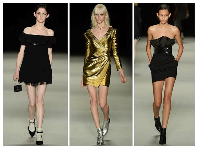 Saint Laurent Spring/Summer 14 dresses in black and gold