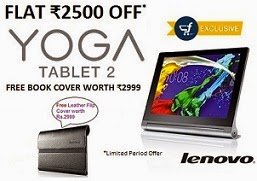 Flat Rs.2500 Off on Lenovo Yoga 2 Tablet 8″ (Platinum, 16 GB, Wi-Fi, 4G) for Rs.19990 + Free Leather Flip Cover worth Rs.2999