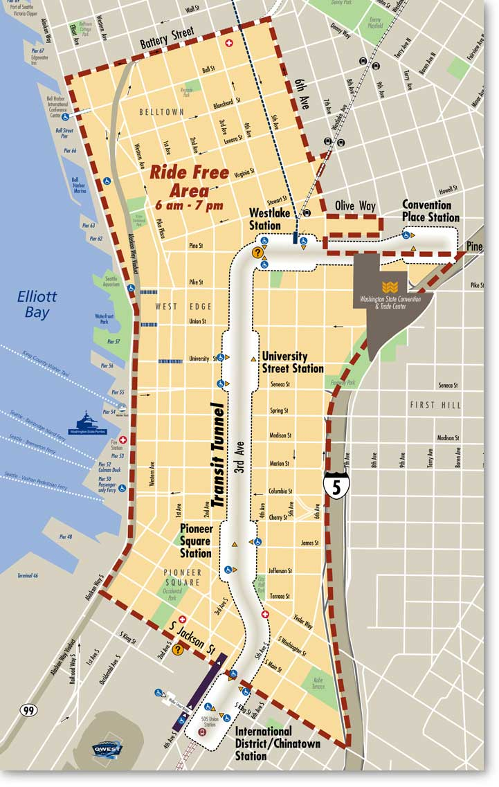 The Ride Free Area Seattle Fun Fact 7 – Seattle Washington Map Tourist