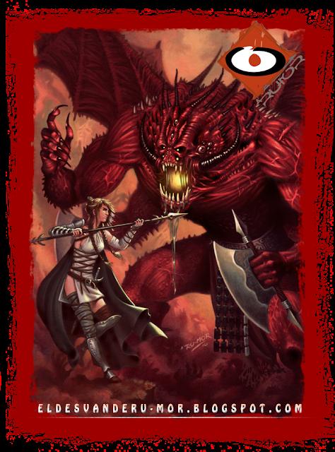 Ilustración hecha por ªRU-MOR de personaje Oni para ÉPICA: Edades Oscuras, juego de cartas de fantasía medieval y rol