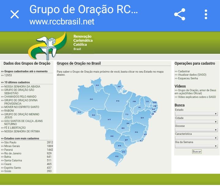 Tutorial para Cadastro de G.O Site da RCC