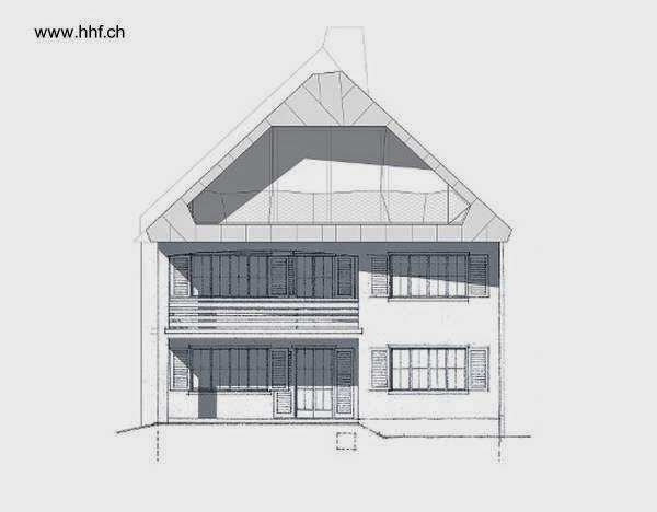 Plano arquitectónico de alzada del frente de la casa suiza