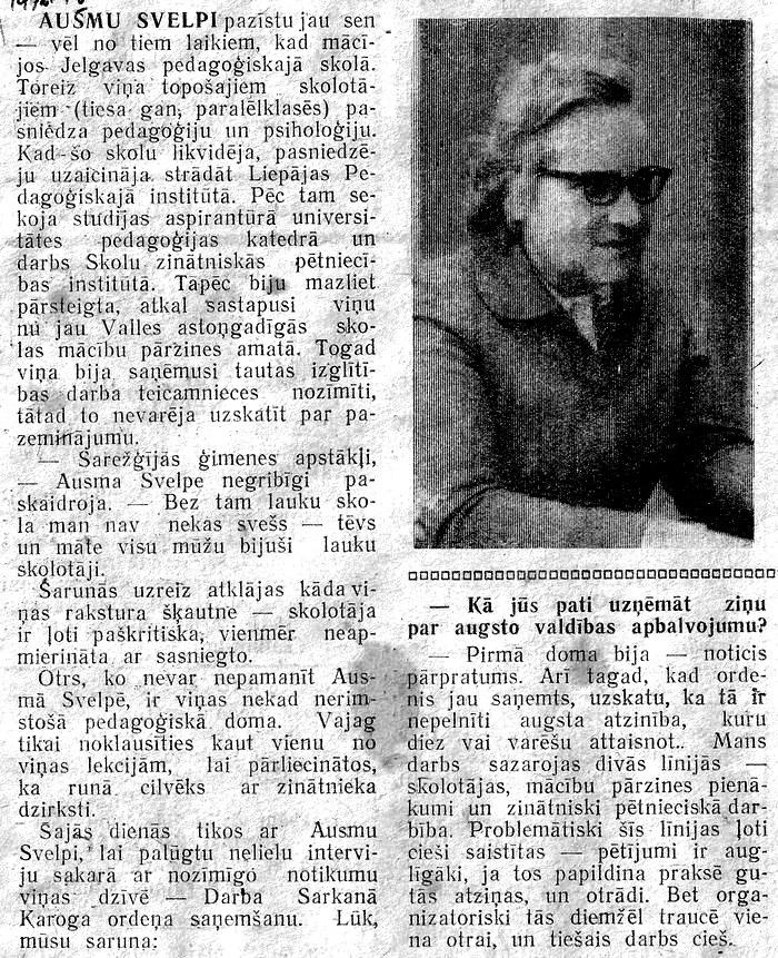 Skolotāja Ausma Svelpe ( raksts no 1976. g. 1. maija avīzes ,, Komunisma uzvara '' ) - 1