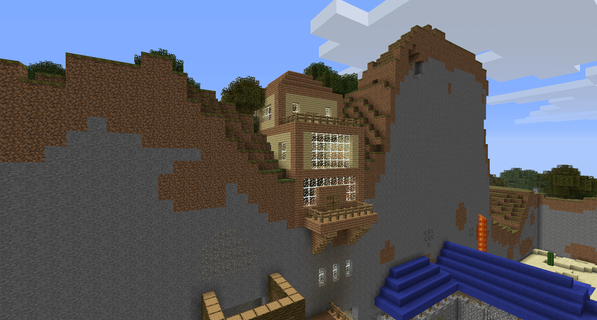 Minecraft house built into mountain y0rhhx4i
