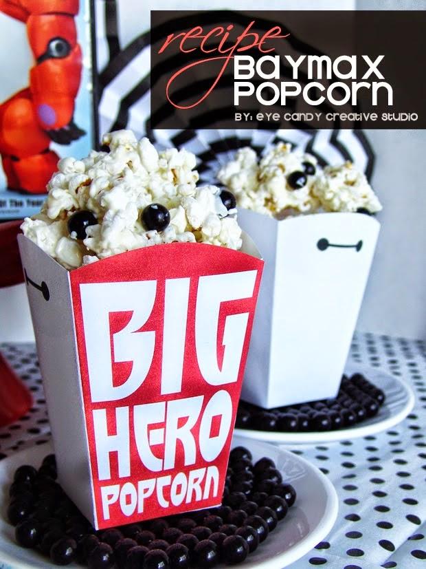 baymax popcorn recipe, family movie nght, kids movie, disney, popcorn boxes