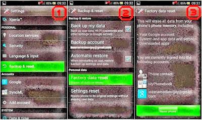 Hard Reset Sony Xperia Z3 using menu