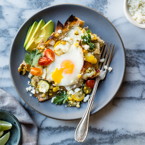 ... Baked Green Chilaquiles with Sweet Corn + Summer Squash {gluten-free