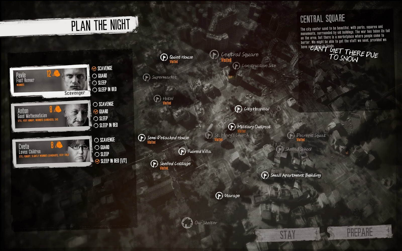 This War Of Mine screenshot map of locations