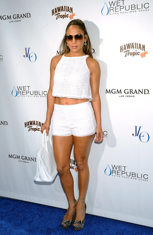 Jennifer Lopez strikes a pose in white shorts and skimpy top