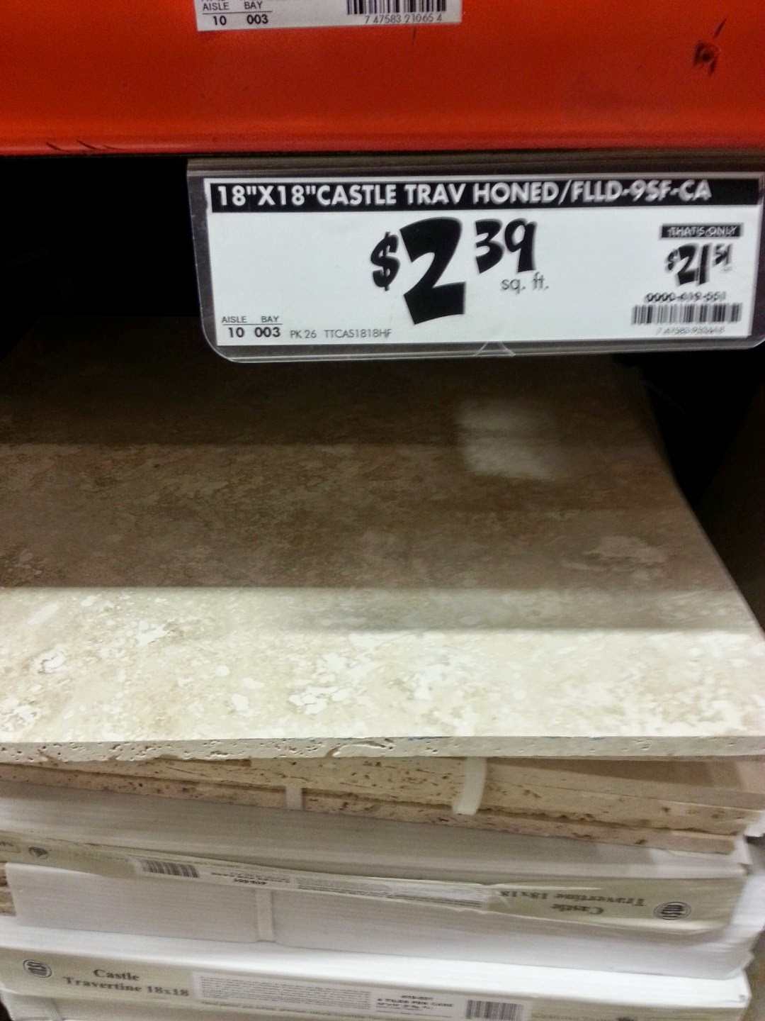cost of tile at lowe's home depot