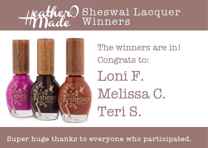 sheswaigiveaway winners heatheromade
