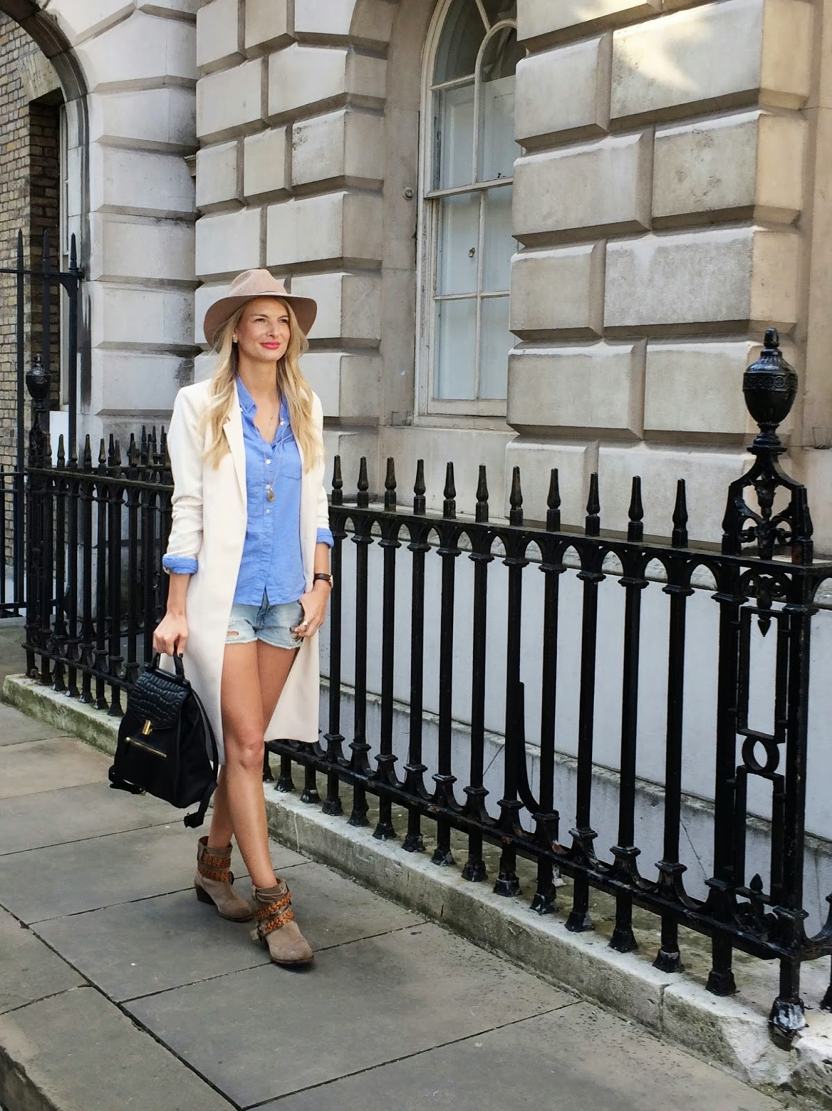 LFW day 1, felder felder, chrissabella, gap shirt, jeans cut off, jeans shorts, zara shorts, duster coat