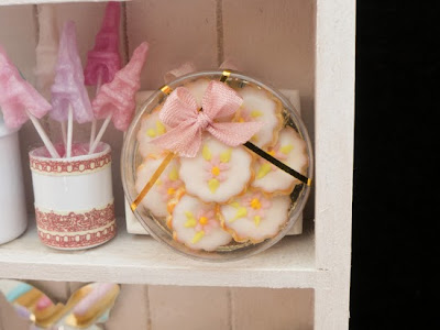 Pink flower cookie box miniature food for dollhouse 12th scale