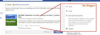 IMAGEM III: Como fica o artigo no Facebook com a opção descrita