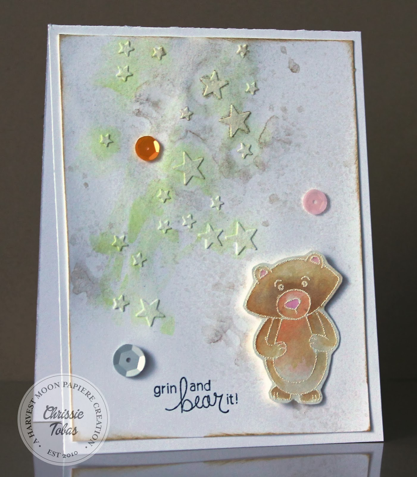 Winston's Birthday Bear Card by Chrissie Tobas for Newton's Nook Designs