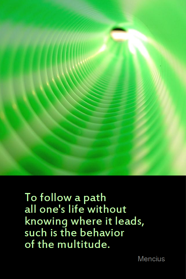 visual quote - image quotation for DIRECTION - To follow a path all one's life without knowing where it leads, such is the behavior of the multitude. - Mencius