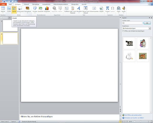 PowerPoint 2010 - ClipArt Gallerie öffnen - Bild suchen