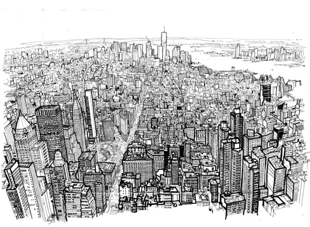 Manhattan,Empire State,Patrick Vale,Empire State of Pen,drawing,remarkable,UK,illustrator,ilustracion