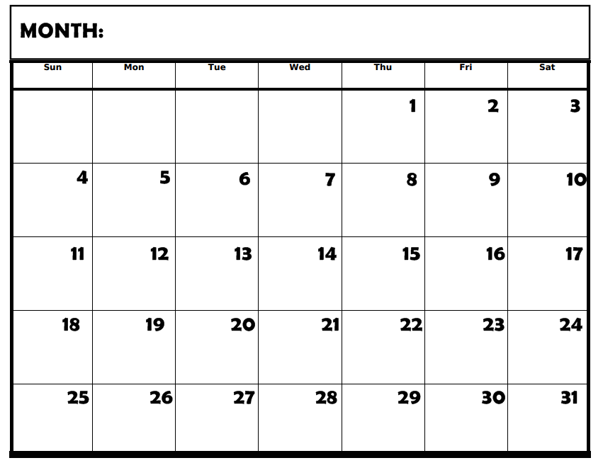 Blank Calendar With Days Of The Week : Days of the week printable calendar new
