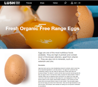 "LUSH website screencap of their ""Fresh organic free range eggs"" description. Explains that eggs are nutritious and that their animals are well cared for."
