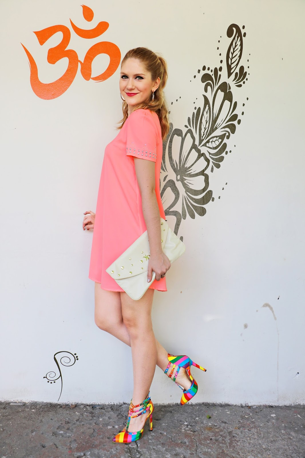 Bright outfit with rainbow heels!