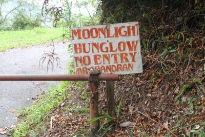 An ominous sign saying 'Moonlight Bunglow: No Entry' greets us at the end of the road towards the bungalow where Jim Thompson was last seen alive.