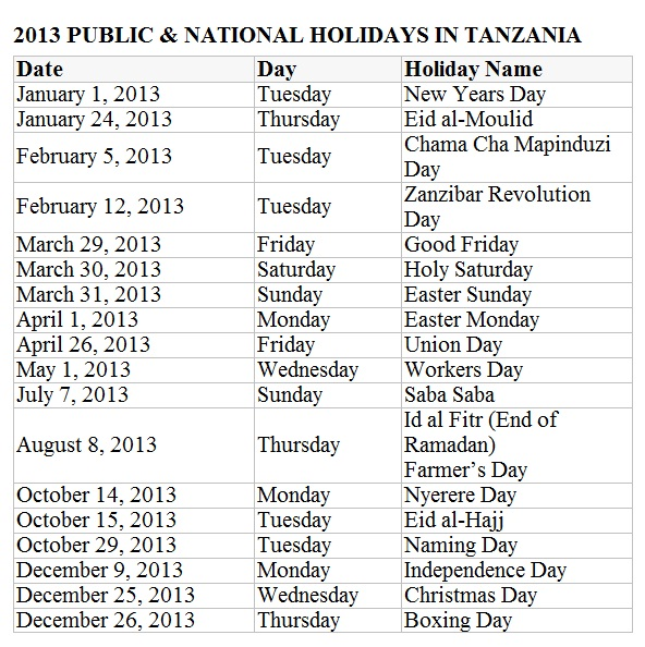 2013 List Of National And Public Holidays