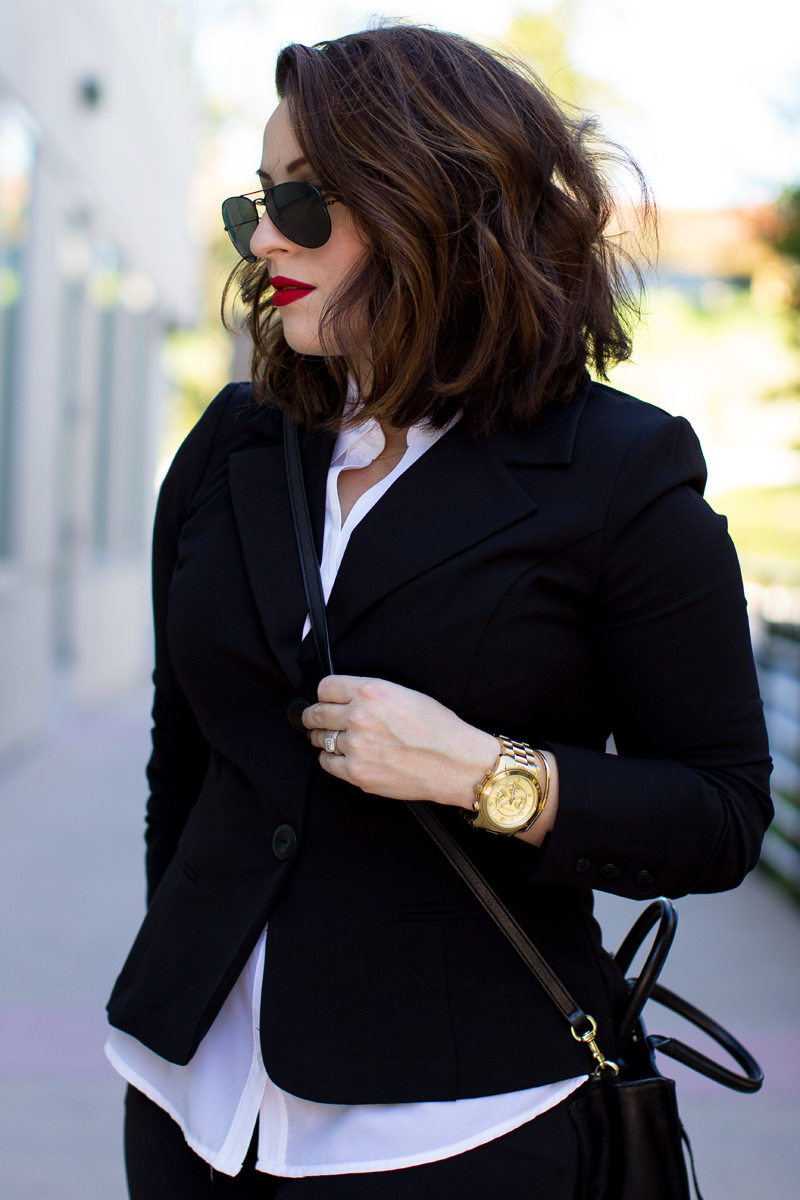 short wavy lob, byer california, michael kors gold watch