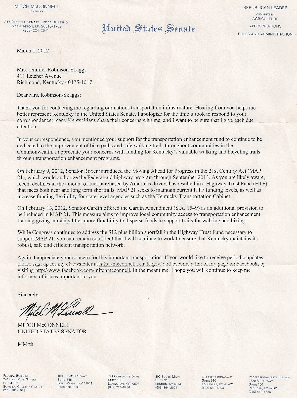 Advocacy to end childhood obesity letter from kentucky senator letter from kentucky senator mitch mcconnell ccuart Image collections