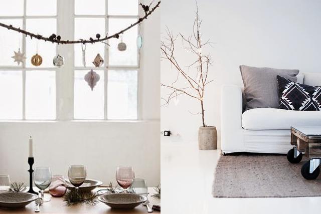 decoración de interiores inspiración navidad árbol ramitas hermanas bolena