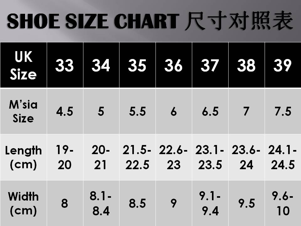 Foot Size Cm To Shoe Size