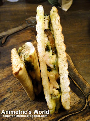 Roasted Chicken Pesto and Shiitake Mushroom on Flat Bread at Starbucks