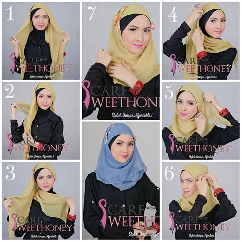 cara memakai hijab style 2
