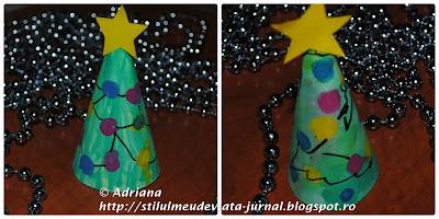CRAFT - bradut pentru craciun cu amprente colorate
