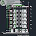 مخطط مشروع عمارة سكنية متعددة الطوابق اوتوكاد dwg