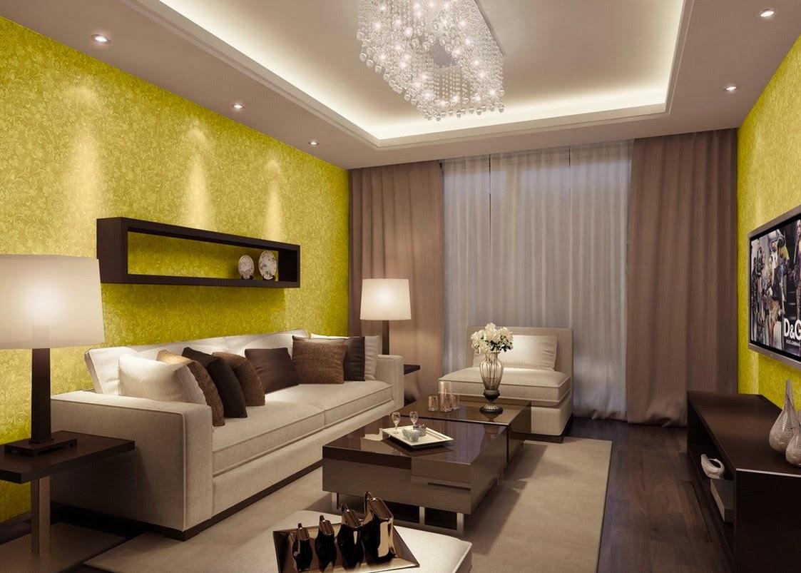 motif wallpaper dinding ruang keluarga