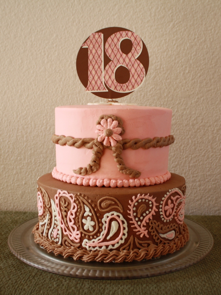 Party Cakes Western Pink And Brown Cake