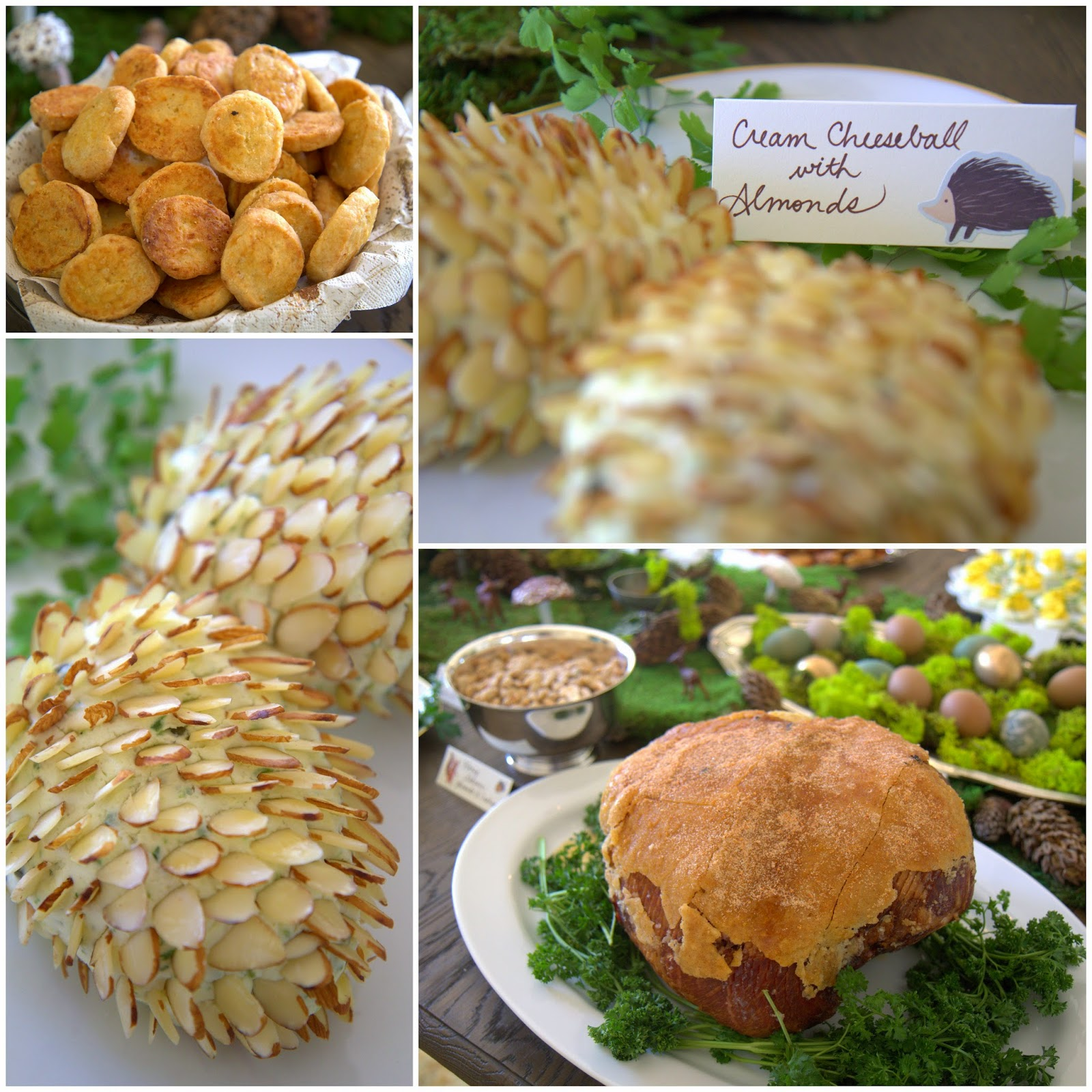 Woodland Party; Cream Cheeseball Pinecones, Cheddar Jalapeno crackers, honey baked ham; party food: Nora's Nest