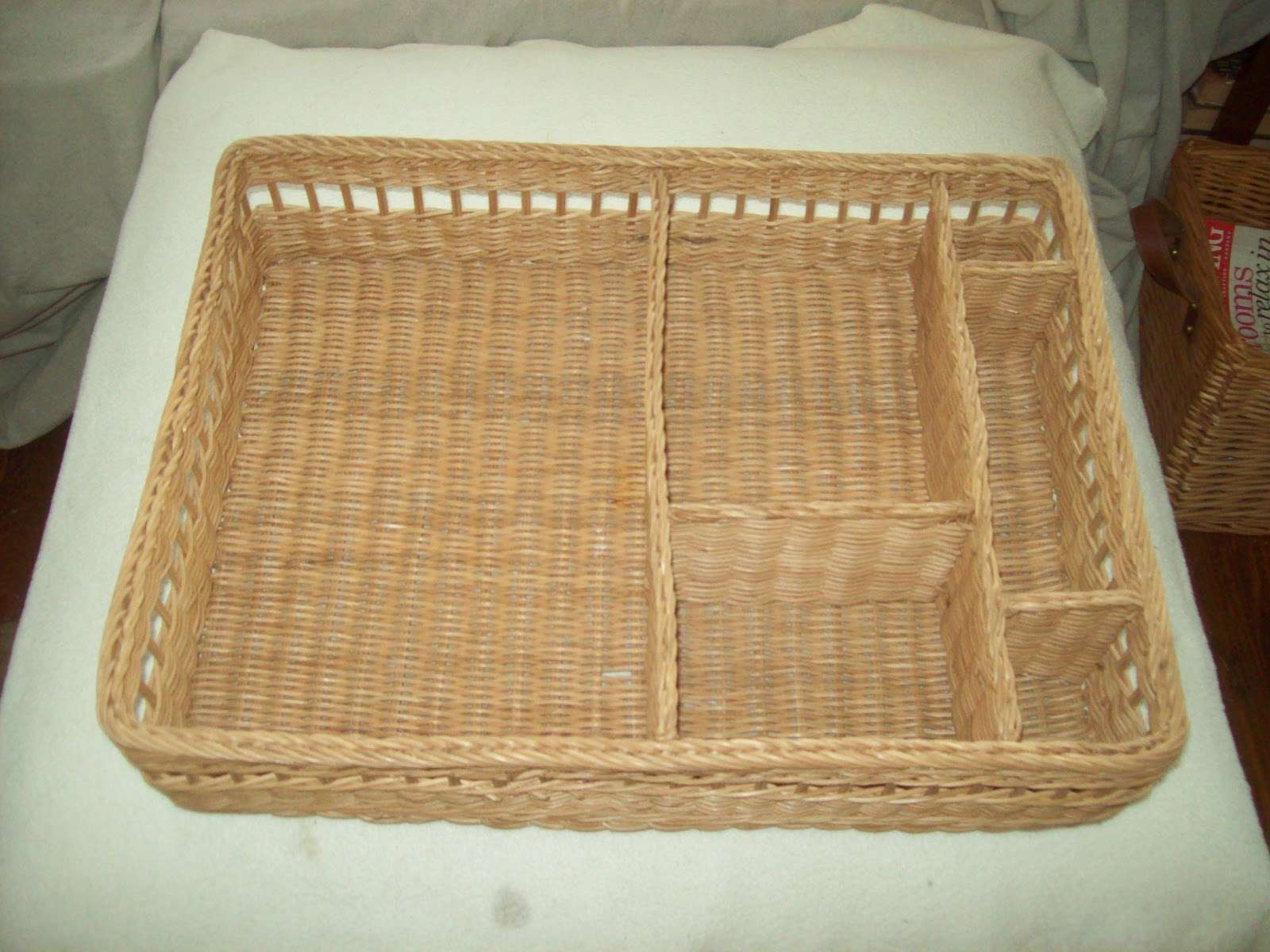 Adventures in thrifting wednesday wows - Divided wicker basket ...